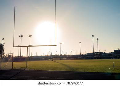 American Football Field Outdoors Goal Posts Green Grass Beautiful Day