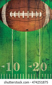 An American football and field painted over a textured hardwood floor background.