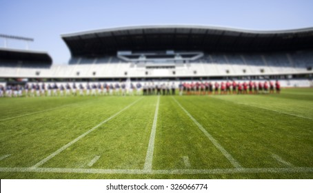 American football field with the two team