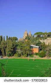 American football field and view in National Museum in Barcelona