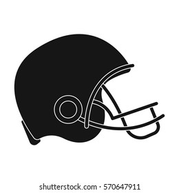 American football helmet icon in black style isolated on white background. USA country symbol stock bitmap,raster illustration.