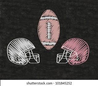 American football Helmets written on blackboard background high resolution, easy to use