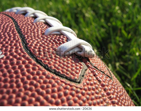 American football lying in the grass.