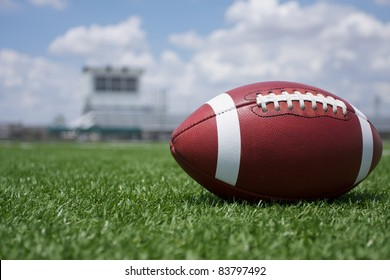 American Football on the Field with the stands in the background