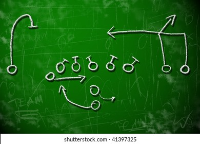 American football playbook diagram on chalkboard shows strategy planning concept.