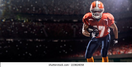 American football player in action before match