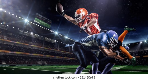 American football player in action on the olympic stadium