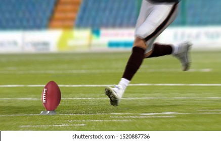 American football player kickoff on field
