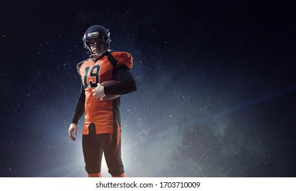 American football player with planet on the background