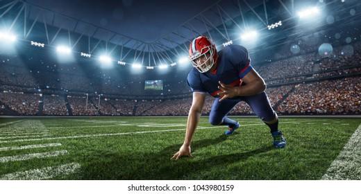 American football player in professional sport stadium