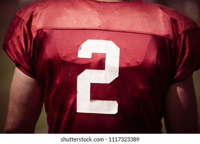 American Football player with shirt number two
