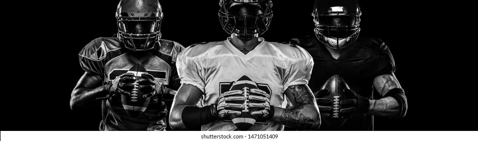 American football player, sportsman in helmet on dark background. Black and white photo. Sport wallpaper.