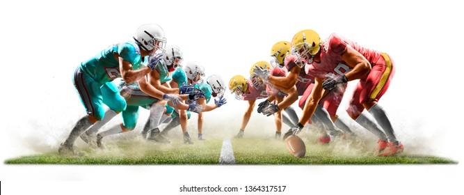 Amerikanische Fußballspieler einzeln auf Action-Weiß