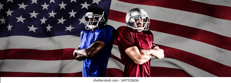 American Football Players against american flag