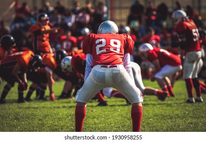 american football players during a game