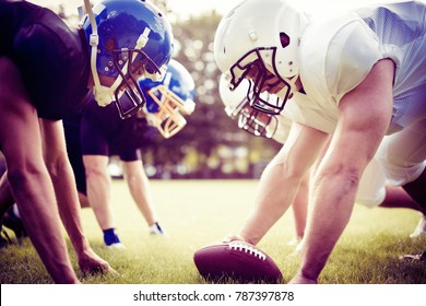 American Football Players Facing Each Other