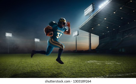 American football. American football players in professional sport stadium.