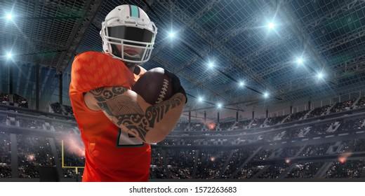 American football. American football players in professional sport stadium.