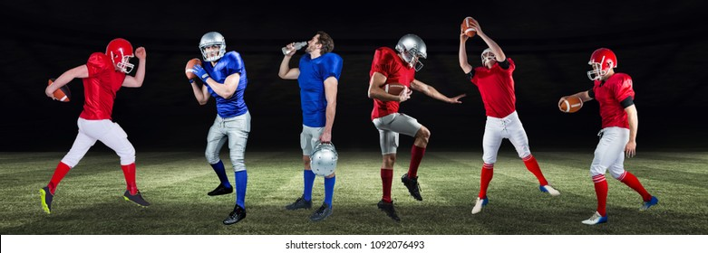 american football players wide on field