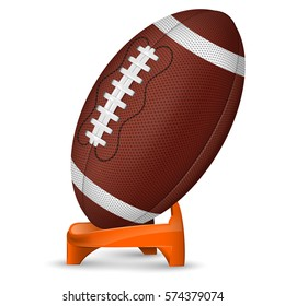 American Football Poster with Ball and Stand, icon isolated on white background