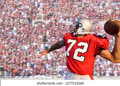 American football quarterback in crowded stadium throwing ball