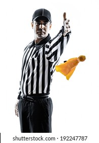 american football referee gestures in silhouettes on white background