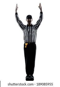 american football referee touchdown gestures in silhouettes on white background