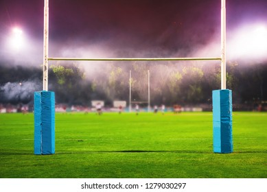American Football, Rugby arena. Goal post, Professional Game in night, Super Bowl concept photo