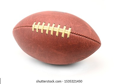 American football and rugby ball on isolated white background