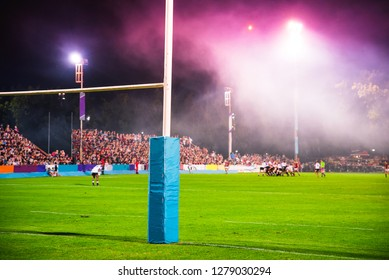 American Football, rugby goal post, Concept photo, professional game in the night. Super Bowl concept photo,