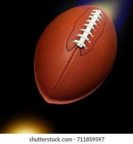 American football shooting in studio dark black background.