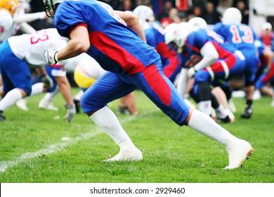 American football sport concept. Team  player run pose
