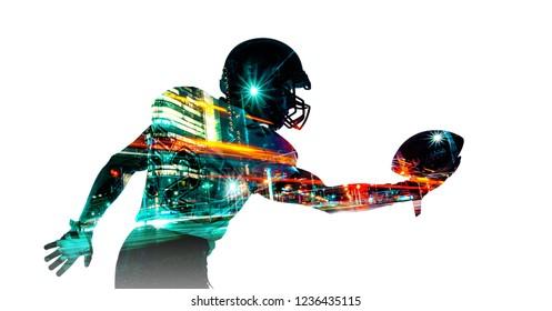 American football sportsman player in helmet. Sport wallpaper. Mixed photo.