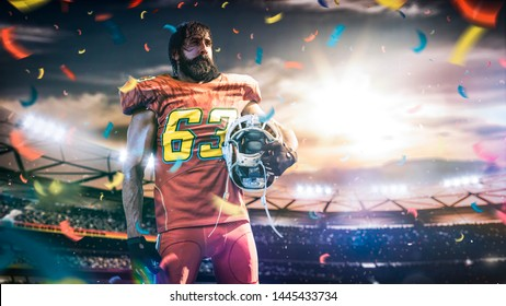 American football sportsman player on stadium in action. Sport wallpaper with copyspace.