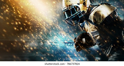 Photo of American football sportsman player on stadium running in action. Sport wallpaper with copyspace.