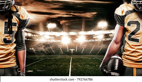 American football sportsman player on stadium running in action. Sports banner with copyspace.