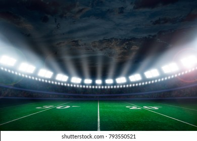 American football stadium brightly illuminated