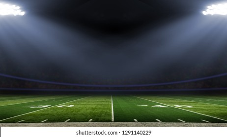 American football stadium low angle field view