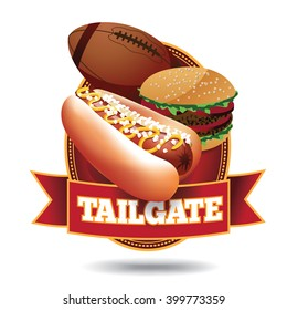 American football tailgate party icon with ribbon.
