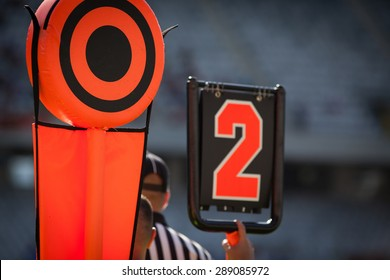 American football yard markers - sports concept
