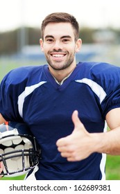 American footballer showing thumbs up