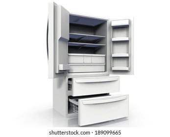 American fridge on a white background