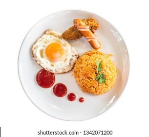 American fried rice on the white plate isolated on white background.