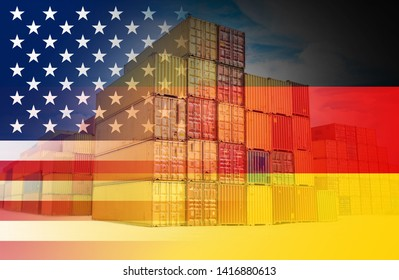 The American and Germany flags imposed over containers representing trade between the two countries.
