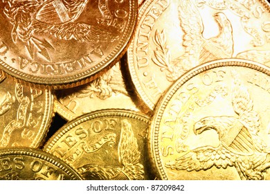 American gold coins on dark background
