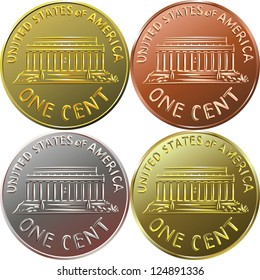 American gold money, one cent coin with the image of the Lincoln Memorial, four color options