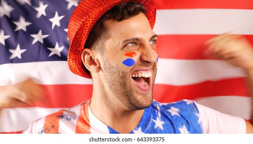 American Guy Celebrating with Flag