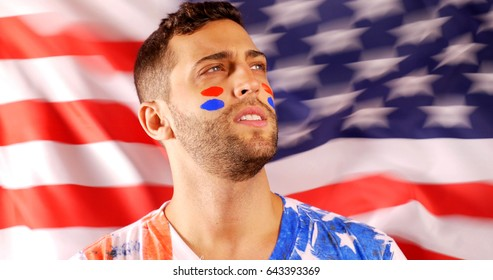 American Guy with Flag on background