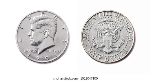 american half dollar coin, 50 c, USA 1/2 dollar, Fifty cent isolate on white background. John F Kennedy on silver coin realistic photo image