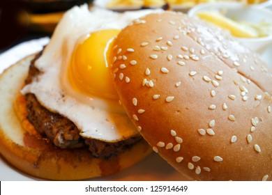 American hamburger with fresh salad